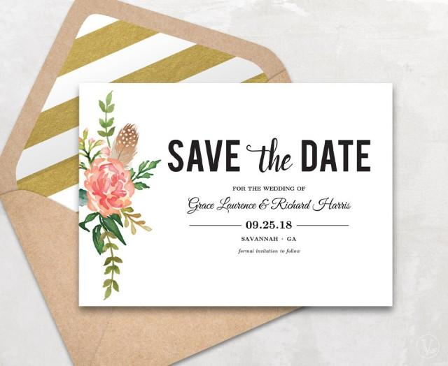 Save the date template floral save the date card boho for Save the date templates free download