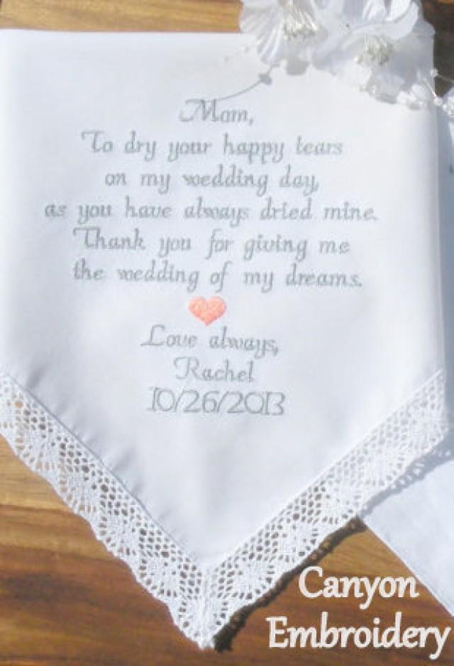 Embroidered Wedding Handkerchief Mother Of The Bride Embroidered