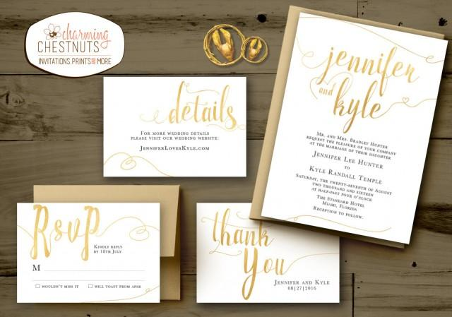 Golden Wedding Invitations Free: WHITE And GOLD Wedding Invitations Set, Classic Gold
