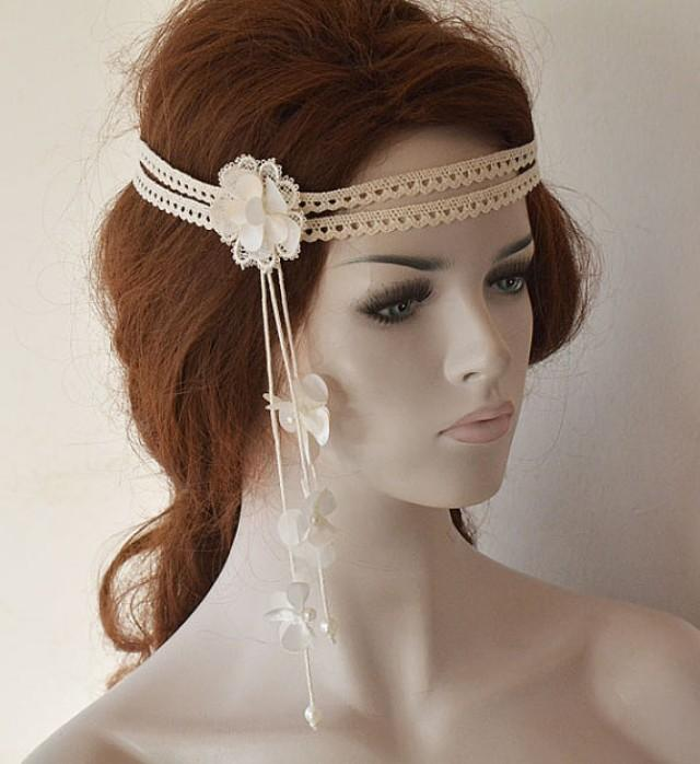Wedding Hairstyle With Headband: Wedding Headband, Lace Bridal Head Piece, Bridal Headband