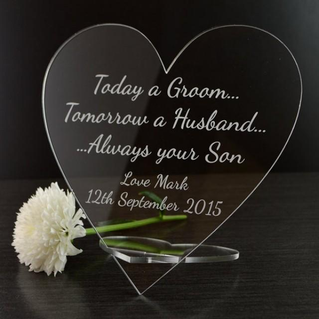 Bridal Gift From Mother: Personalised Mother Of The Groom Wedding Heart Plaque Gift