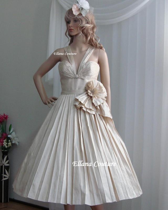 Sample Sale Retro Style Dupioni Silk Wedding Dress Vintage