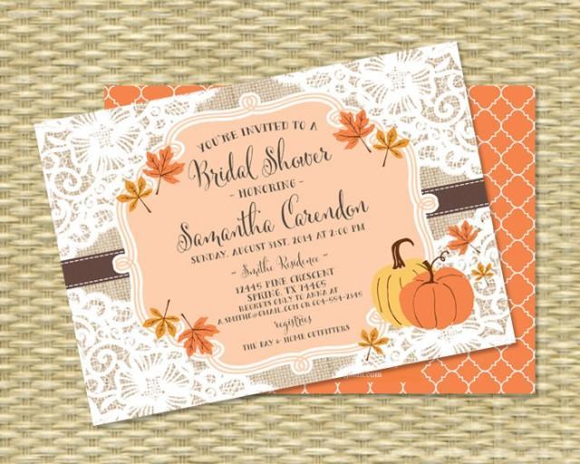Fall Wedding Shower Invitations: Fall Bridal Shower Invitation Burlap Lace Fall Into Love