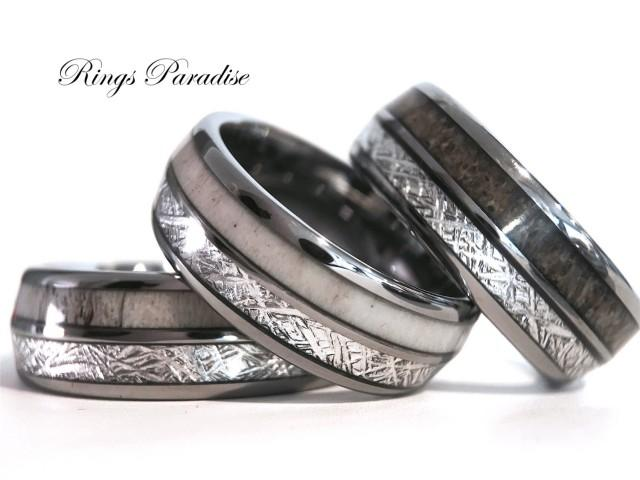 Antler Elk Wedding Band Meteorite Inlay Tungsten Ring Engagement Rings Mens Tungsten Band