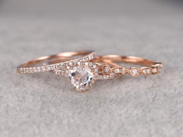3pcs Morganite Bridal Ring Set Engagement Ring Rose Gold Diamond