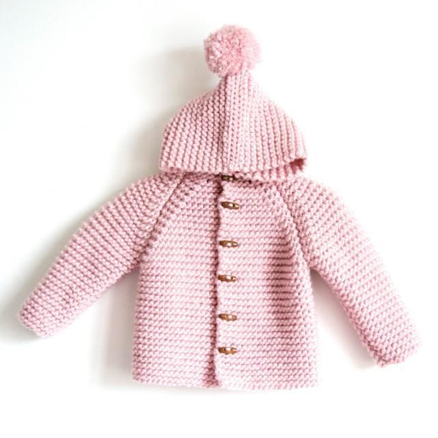 Hand Knitted Baby Toddler Boy Or Girl Wool Hoodie Cardigan