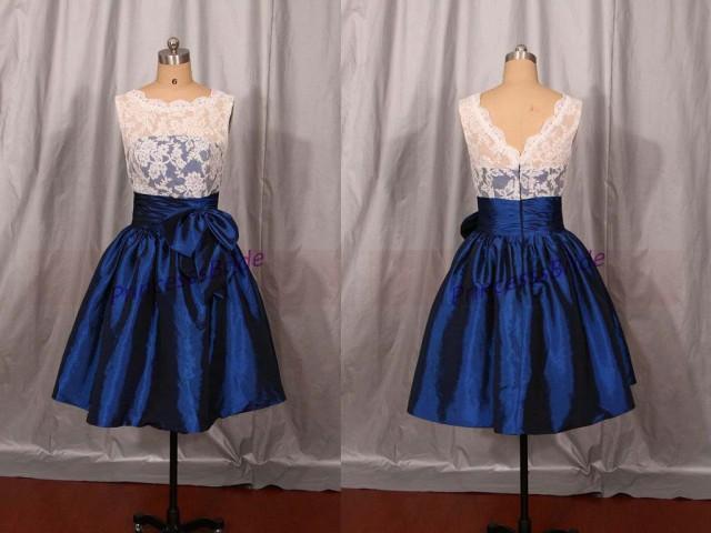 2016 Short Ivory Lace And Navy Blue Taffeta Bridesmaid