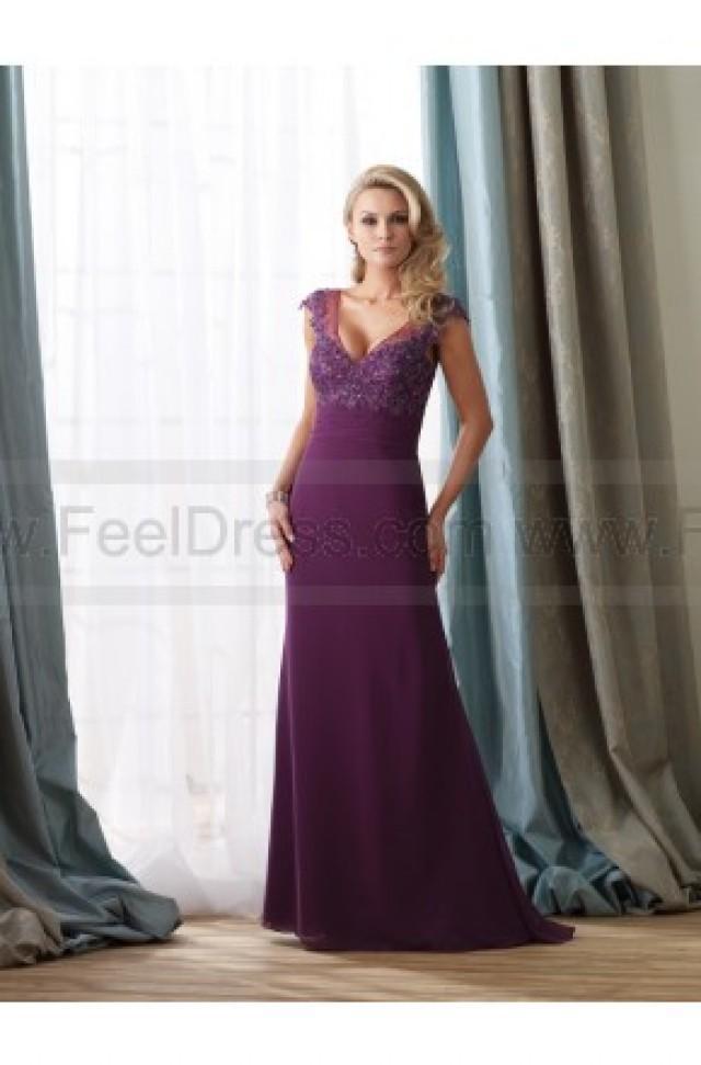 Sheath Column Floor Length V Neck Chiffon Purple Mother Of The Bride