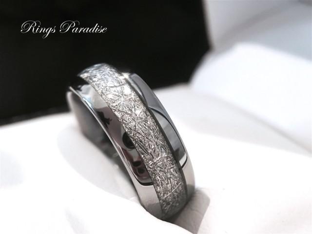 Meteorite Inlay Tungsten Ring