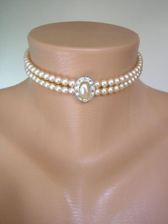 Pearl Choker Pearl Necklace Great Gatsby 2 Strand