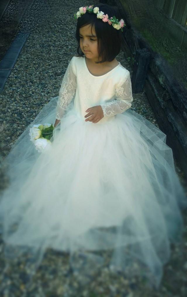 Pure Elegance White Lace Flower Girl Dress Christening or Baptism Dress