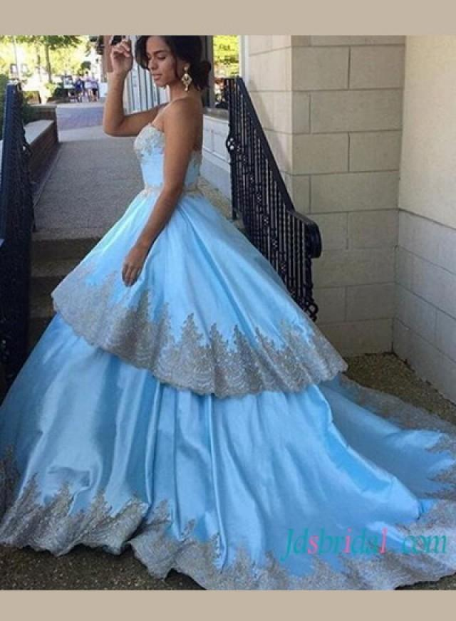 Baby Blue With Gold Lace Trim Layered Ball Gown Celebrity Prom ...