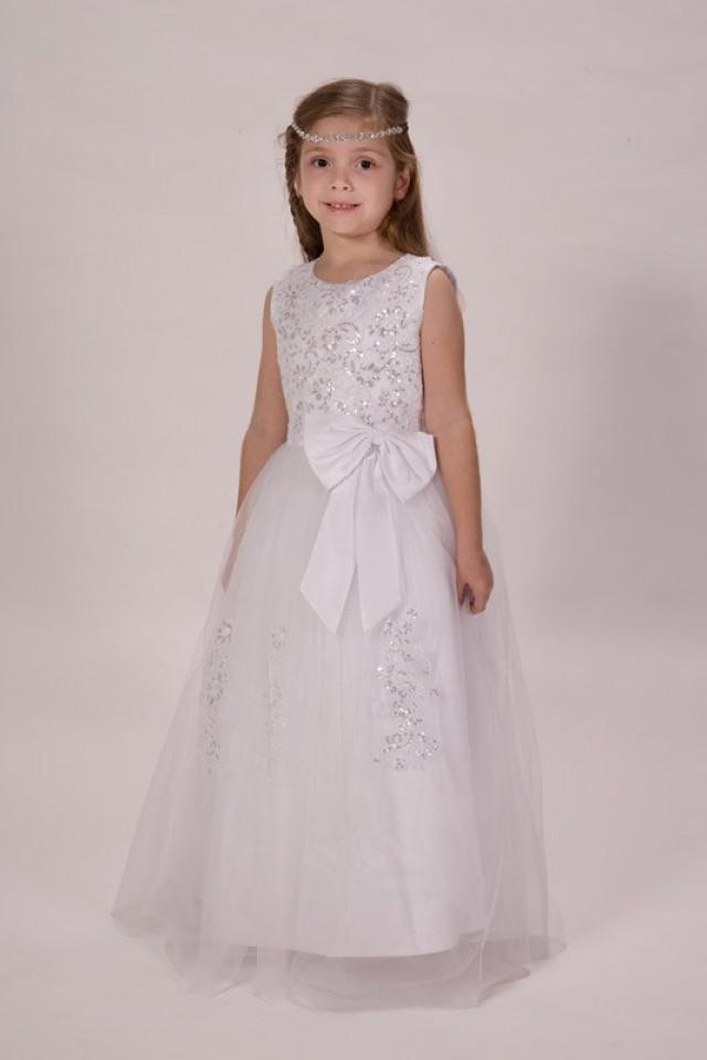 3 Home Decor Trends For Spring Brittany Stager: Stunning White Lace With Satin Bow Flower Girls Dress Long