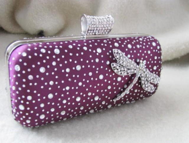 Purple Bags And Purses Bridal Clutches Bride Bridesmaid Formal Purse Wedding Bridal Bag ...
