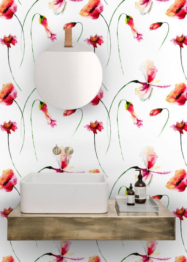Poppies Watercolor 5pictures Flowers Wallpaper Removable Wallpaper Remove Wallpaper Peel And Stick Wallpaper Wallpaper Nr S025 2597282 Weddbook
