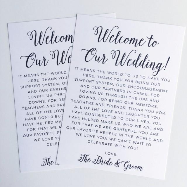 Printable Wedding Welcome Letter Instant Download