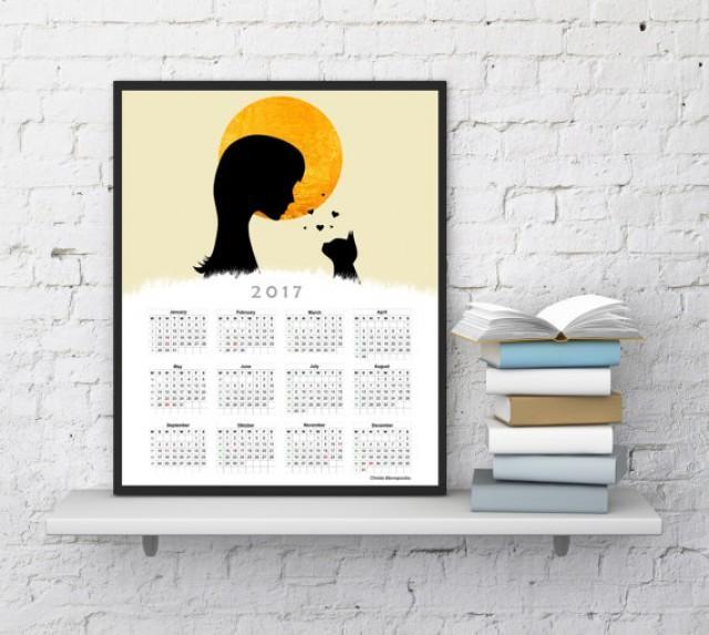 Wall Calendar 2017, Cat Calendar, 2017 Calendar, Christmas Gift For Her,  For Him, Moon Calendar, Office Calendar, InstantDownloadArt1 #2597442    Weddbook