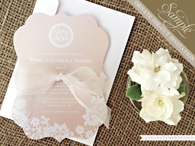 What To Include In A Wedding Invitation Pack: SAMPLE: Champagne & Lace Ornate Die Cut Wedding Invitation