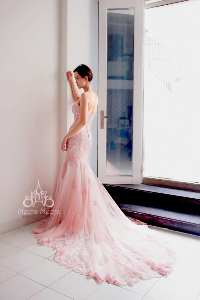 Sweet Pink Mermaid Wedding Dress From Meera Meera Sweet Pink