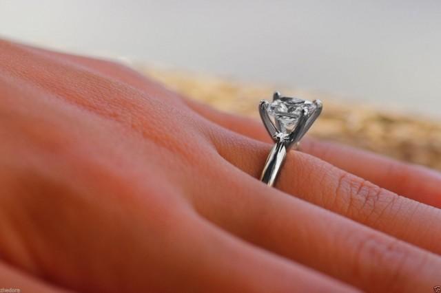 1 5 Ct Princess Cut Engagement Ring 14k White Gold Bridal