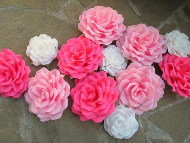 12 Giant Paper Flowers/Giant Paper Roses/Wedding Decoration/Arch Flowers/ Table Flower ...