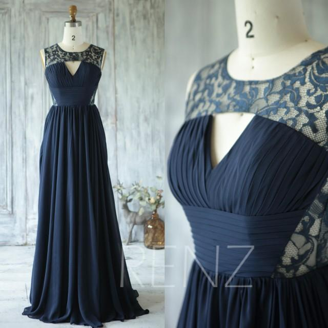 2016 Navy Blue Bridesmaid Dress, V Neck Hollow Wedding Dress, Lace ...