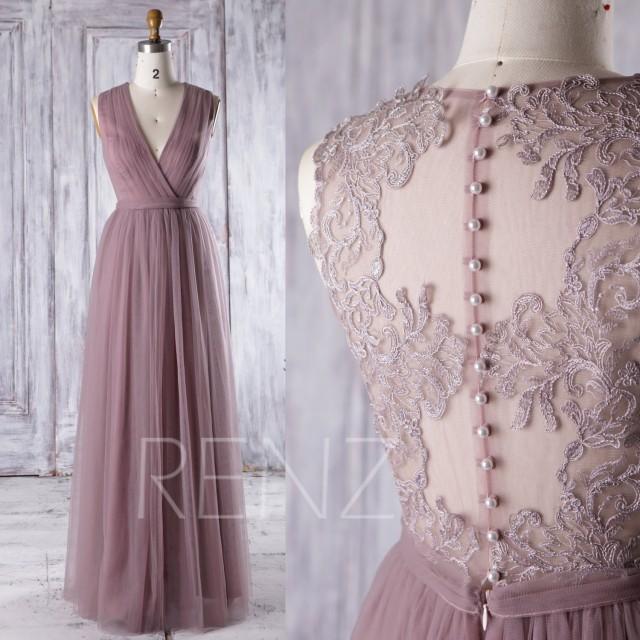 2016 Dusty Rose Mesh Bridesmaid Dress, Deep V Neck Wedding
