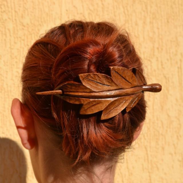 Leaf wood hair accessories wooden shawl pin mom wife