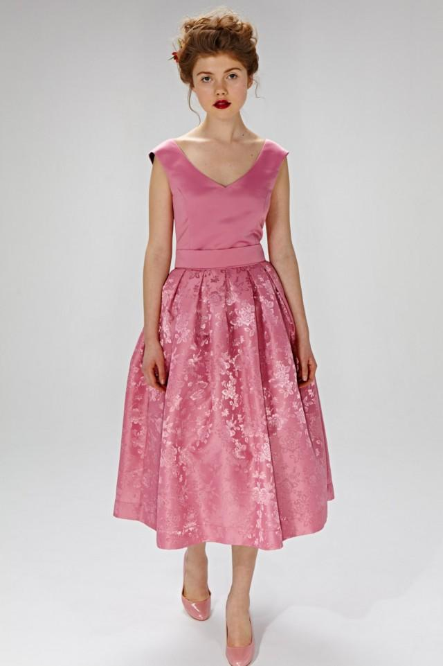 Pink wedding dress 50s inspired dress chic wedding dress for Wedding dress material guide