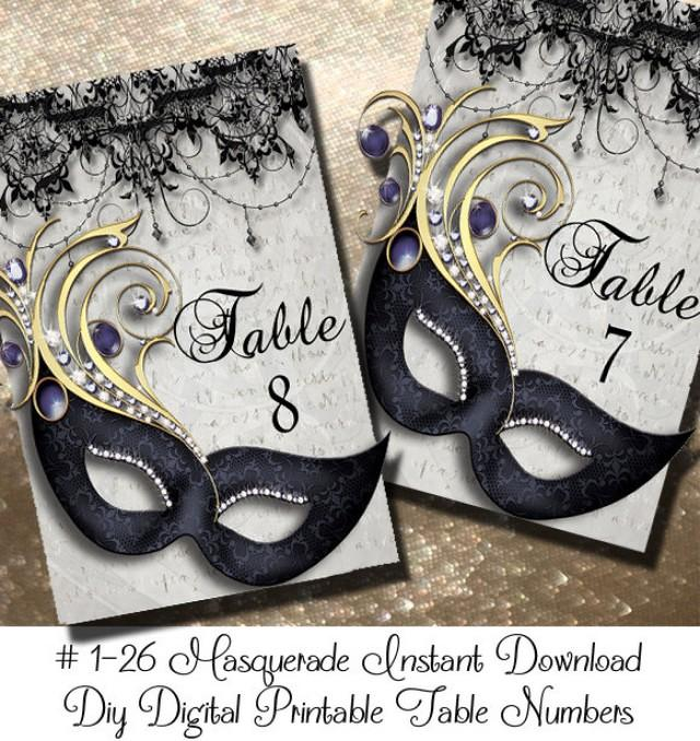 Instant Download Masquerde Printable Table Numbers 4040 40 Delectable Masquerade Ball Table Decorations