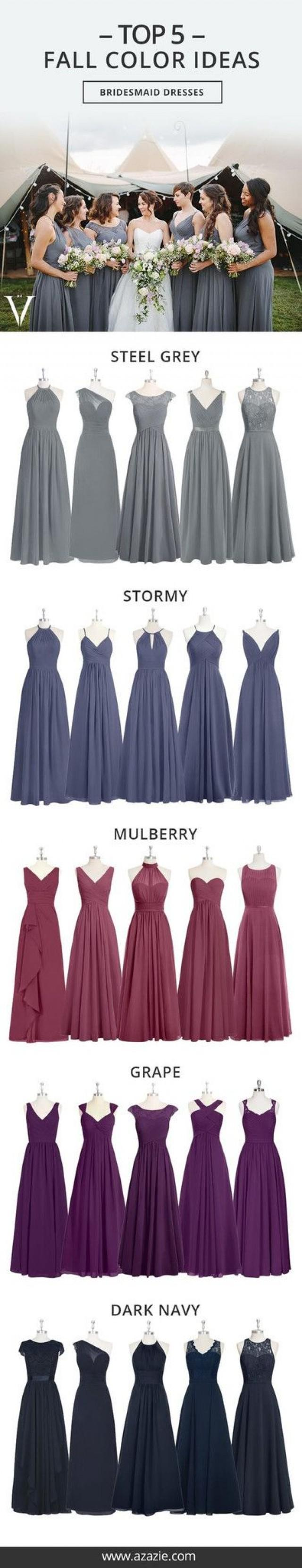 Top 5 fall color set 5 shades 6 fabrics bridesmaid dress top 5 fall color set 5 shades 6 fabrics bridesmaid dress wedding wedding gown grape stormy mulberry steel grey dark navy chiffon mesh ombrellifo Gallery