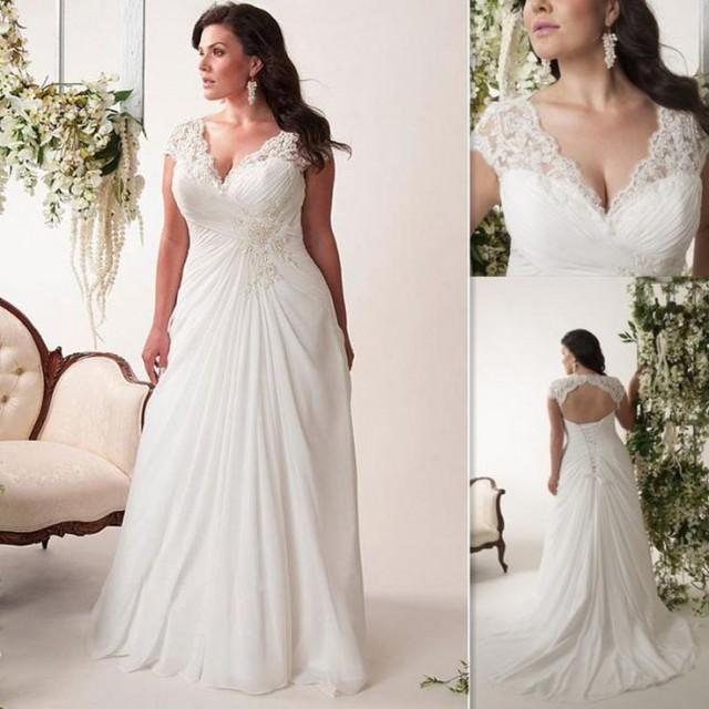 Large Size Wedding Gowns: Plus Size Wedding Dresses Cheap 2016 V Neck Pleats Chiffon