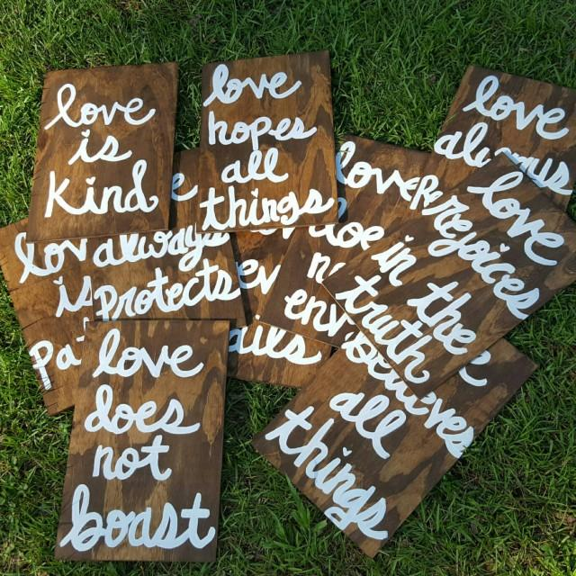 Wedding Reading Love Is Patient: Wedding Aisle Signs, Set Of 10, Corinthians 13 Signs, Love