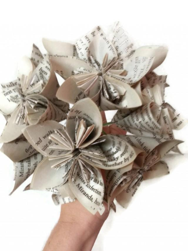 Book paper flower bridal bouquet with wire stems and white silver book paper flower bridal bouquet with wire stems and white silver ribbon 2599941 weddbook mightylinksfo