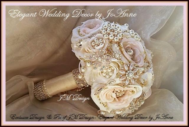 Blush Pink Hair Flower Or Brooch Bridal Wedding: Pink And Rose Gold Wedding Bouquet, Rose Gold Brooch