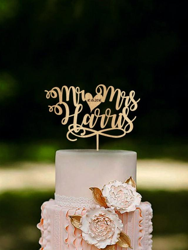 Mr And Mrs Cake Topper Custom Name Toppers Unique Wedding Last Personalized Gold 2600126