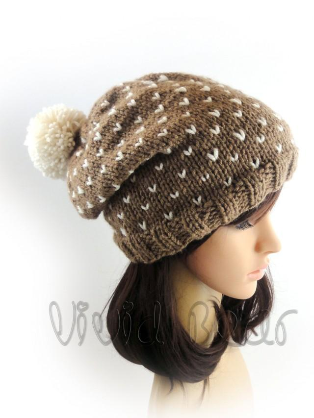 ad38fbe572383 Pom Pom Hat. Hand Knit Beanie. Brown Ivory Or Any Of 44 Colors. Big Fluffy  Pompom. Slouchy Beanie. Woman s Hat. Warm Winter Accessory.  2600206 -  Weddbook