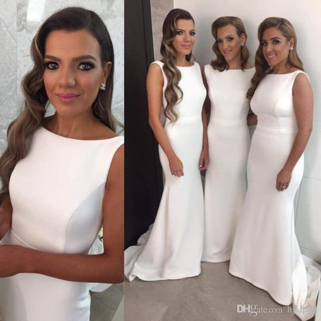 14a3f005a466 Elegant Long Formal Dresses For Women 2016 Scoop Mermaid Sweep Train Open  Back Bridesmaid Dresses White Convertible Dresses Party Gowns 2017  Bridesmaid ...