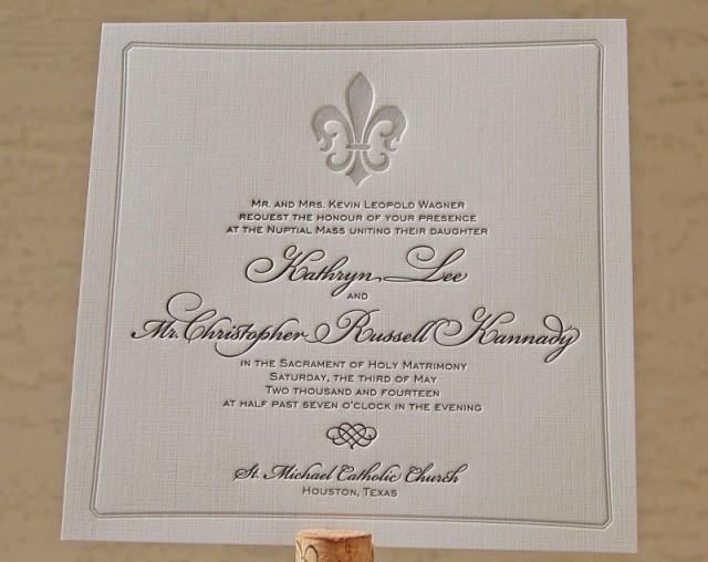 Letterpress Wedding Invitation Sample French Invitations Fleur De Lis 2601227