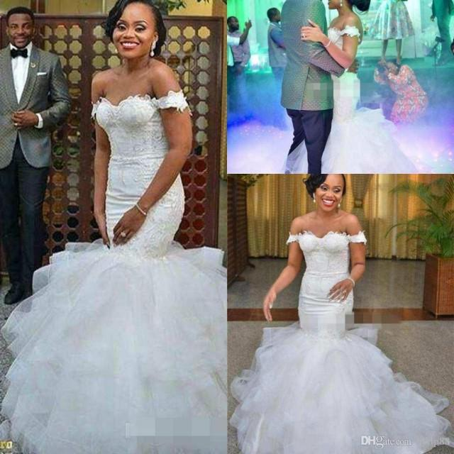 Africa off the shoulder mermaid wedding dresses elegant for Country style lace wedding dress