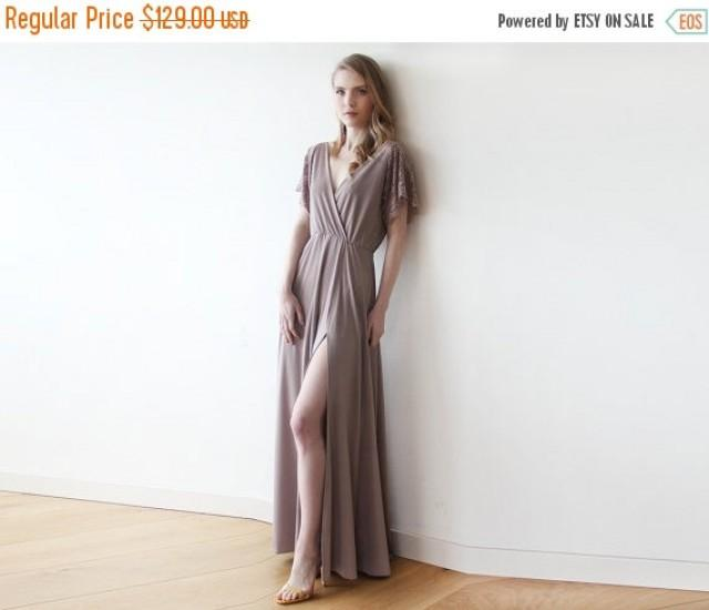 Taupe Wrap Dress With Lace Sleeves, Maxi Taupe Gown With Slit, Short ...