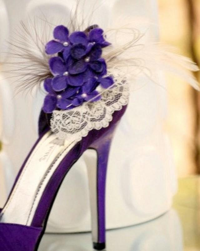 Shoe Clips Ivory Purple Hydrangeas Lace Elegant Wedding