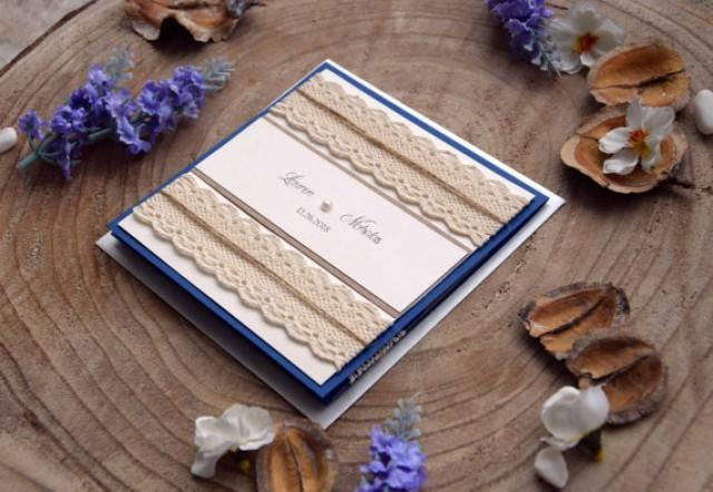 Pocket Folder Wedding Invitation Kits: Navy Blue Wedding Invitation, Pocketfold Invites, Custom