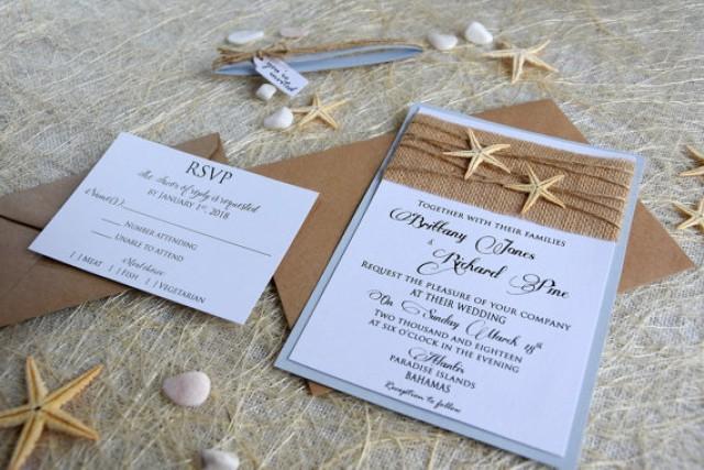 Destination Wedding Invitations When To Send: Custom Invitations, Burlap Wedding Invitation, Beach