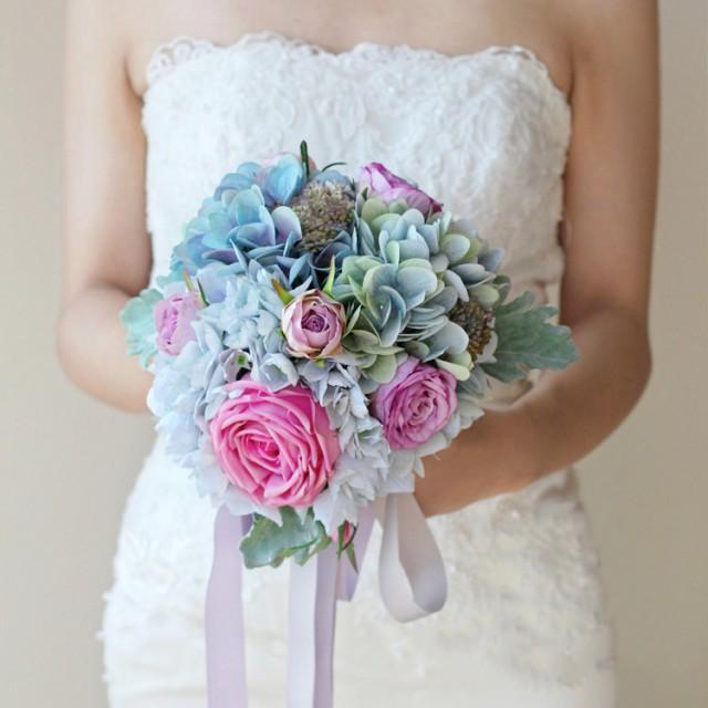 Silk Wedding Bouquet Blue And Pink Bouquet Bridal