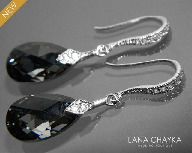 Grey Crystal Earrings French Wire Drop Earrings In Grey