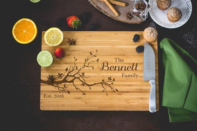 Family Tree Wedding Gift: Personalized Bamboo Cutting Board