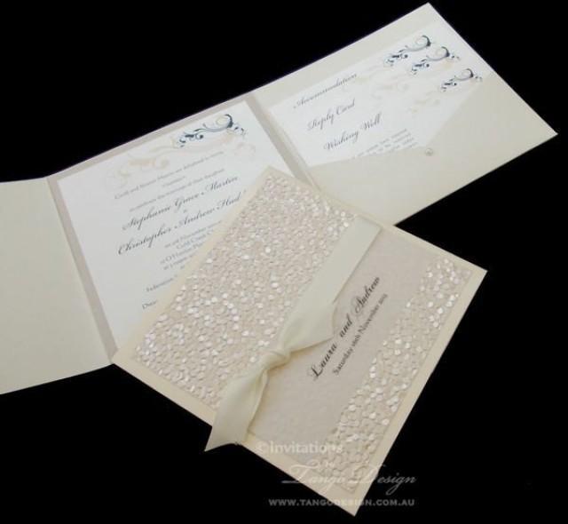 Pocket Folder Wedding Invitation Kits: Vintage Pocket Fold Wedding Invitation Suite. Handmade