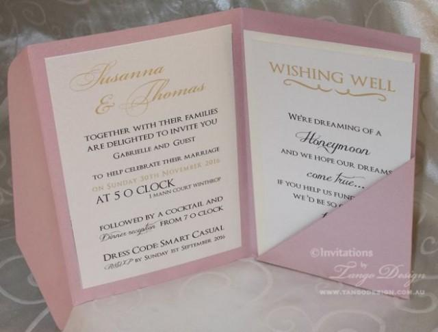 Gold And Pink Wedding Pocketfold INVITATIONS 24 Invites Rsvp Cards Envelopes Set Party Birthday Invitation Foil Or Glitter Papers 2602829