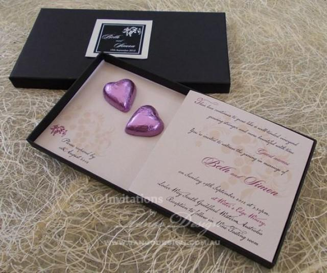 Chocolate Wedding Invitation In A Box. Chocolate Hearts
